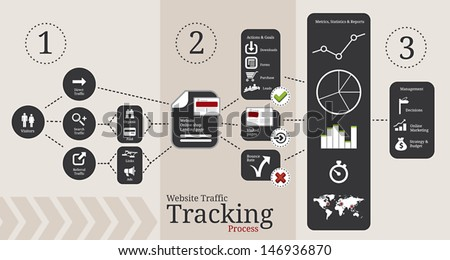 Symbols and elements for website traffic tracking infographics - stock vector