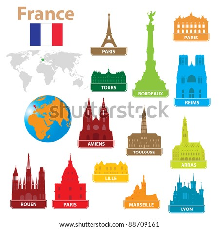 Symbols city to France. Vector illustration for you design - stock vector