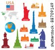 Symbols city USA. Vector illustration for you design - stock photo