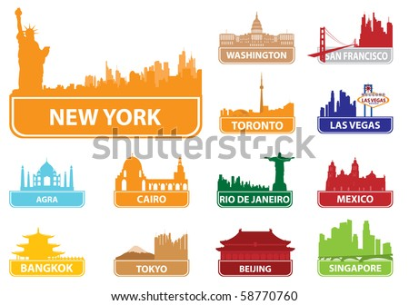 Symbols city. Vector illustration - stock vector