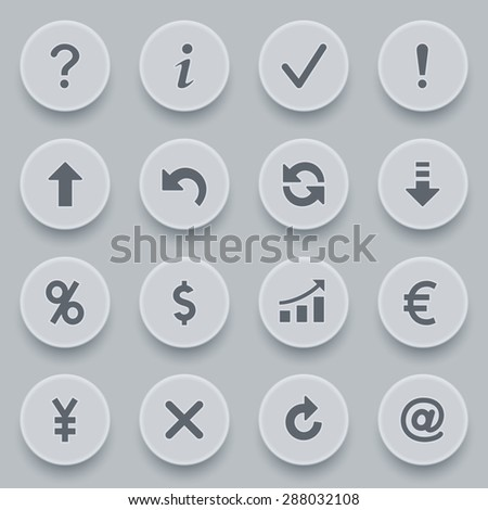 Symbols for web on gray buttons.