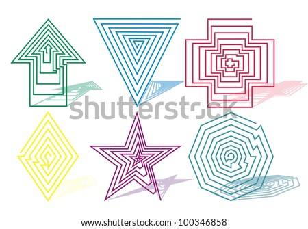 symbols from swirling spiral arrow, triangle, cross, square, star, diamond, octagon - stock vector