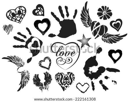 Symbols - hearts, wings, hands, isolated on white background, grunge, vector - stock vector