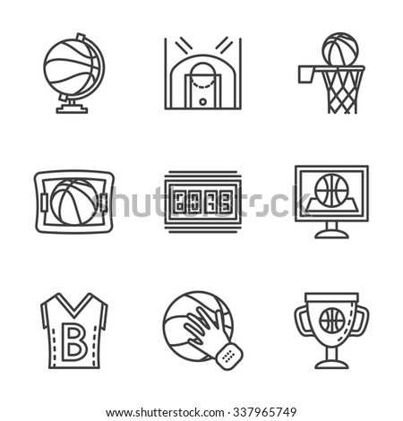 Symbols Basketball Game Competitive Sport Flat Stock Vector Royalty