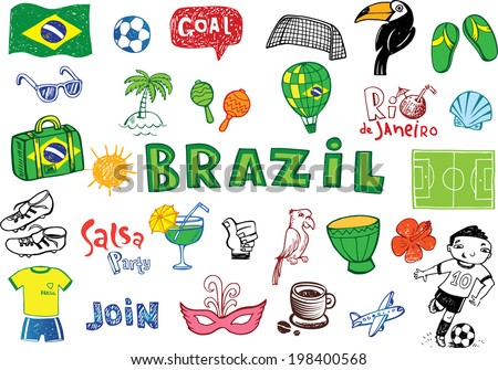 symbols of Brazil, doodles - football, Brazilian accessories, clothes, trees, musical instruments, animals. For banners, sport backgrounds, presentations - stock vector