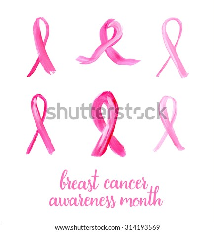 Symbols Breast Cancer Awareness Pink Ribbons Stock Vector 314193569