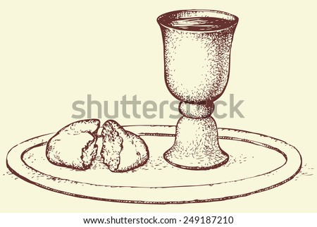 Symbols of Communion: broken bread and wine in bowl. Vector monochrome freehand sketchy linear drawn background in doodle style pen on paper with space for text - stock vector