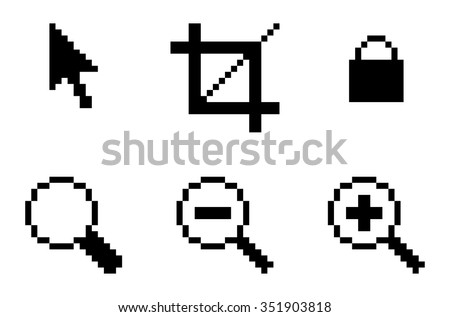 Symbols of computer graphic tools - cursor, crop, lock, loupe. Isolated on white background. Vector illustration. - stock vector