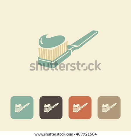 Symbols of dental care. Toothbrush and toothpaste - stock vector