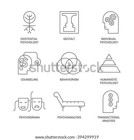 symbols of different psychology theories including psychodrama behaviorism gestalt transactional analysis made in