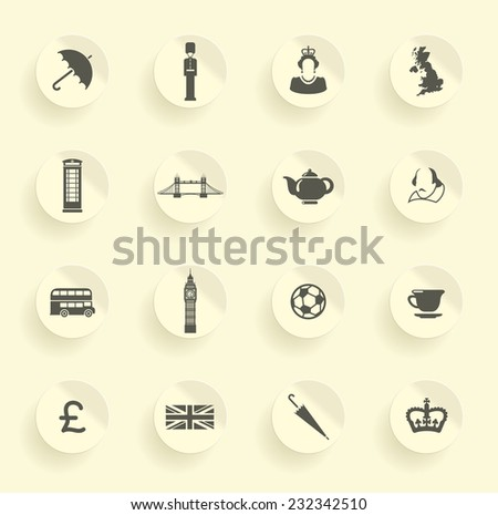Symbols of England and London - stock vector