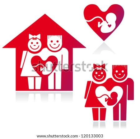 Symbols Family Planning Parents Pregnancy Stock Vector 120133003