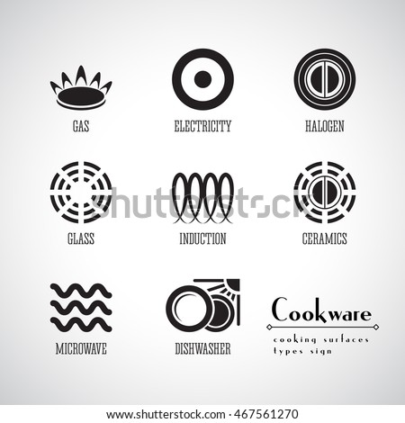 Kitchen Collection Logo symbols food grade metal indicate destination stock vector