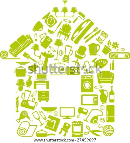 Symbols of furniture, home appliances and ware make the house - stock vector