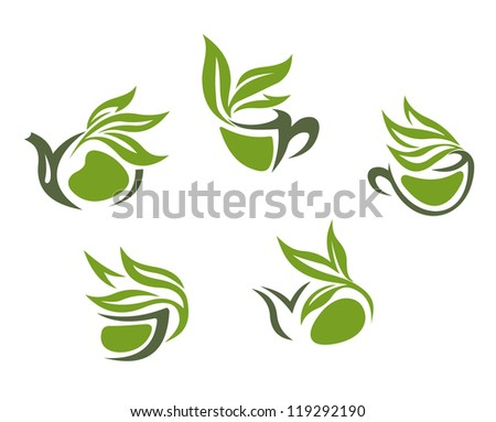 Symbols of green herbal tea isolated on white background, such a logo template. Jpeg version also available in gallery - stock vector