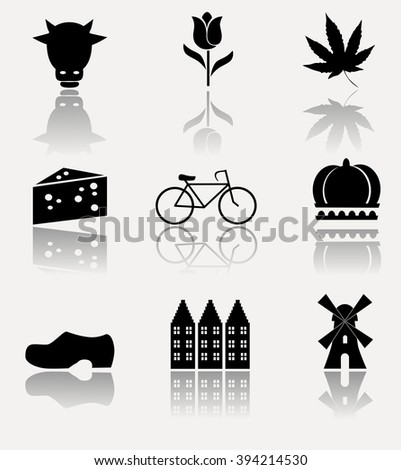 Symbols of Holland - icon set. Vector illustration.
