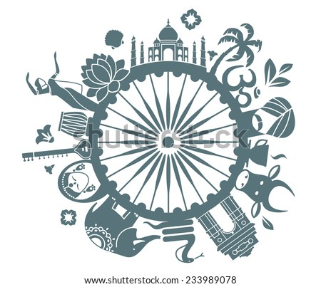 Symbols of India - stock vector