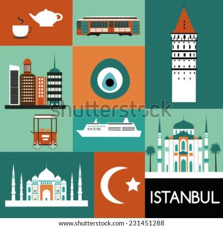 Symbols of Istanbul Turkey. Vector - stock vector
