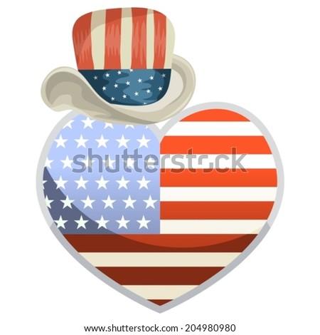Symbols July 4th Heart Shape Us Stock Vector 204980980 Shutterstock