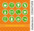 Symbols of kitchen ware on stickers - stock vector