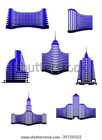 Symbols of modern buildings for design - abstract emblem or logo template. Jpeg version also available - stock vector