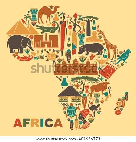 Symbols of nature, culture and architecture of Africa in the form of a map