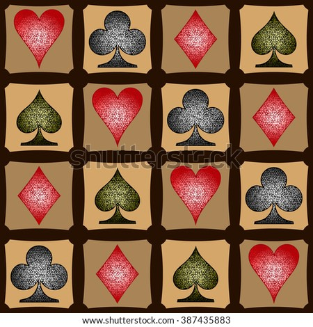 Symbols of playing cards. Vector seamless pattern. EPS 10.
