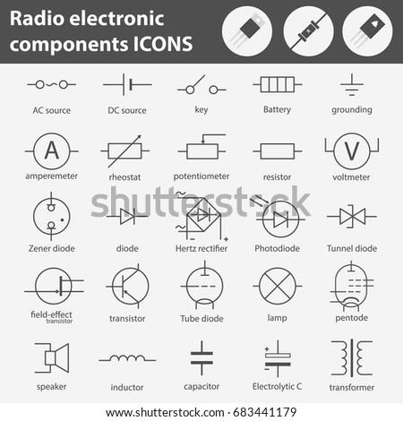 Symbols Radio Electronic Components Line Gray Stock Photo (Photo ...