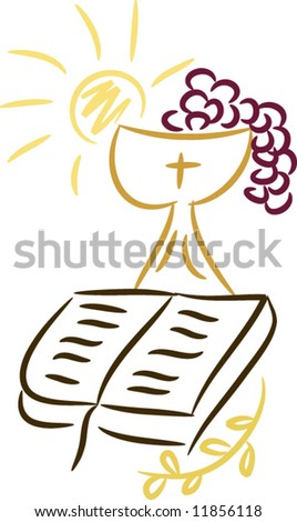 Symbols of religion and christianity including sun, bible, cross, grapes, chalice and wheat; isolated (vector) - stock vector