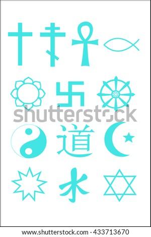 Symbols of religion. Christianity, islam, taoism, judaism, buddhism, hinduism. - stock vector