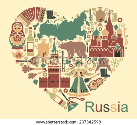 Symbols of Russia in the form of heart - stock vector