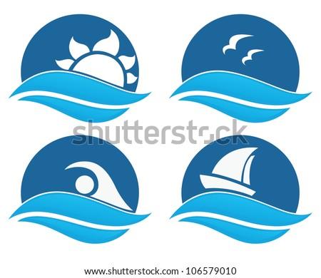 symbols of sea and summer adventure - stock vector