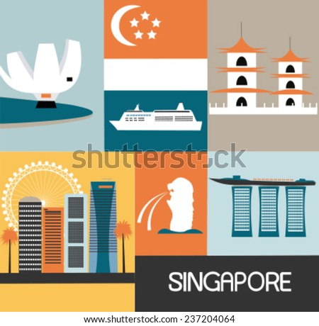 Symbols of Singapore city. Vector - stock vector