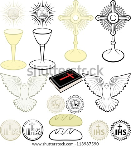 symbols of the Christian religion - stock vector