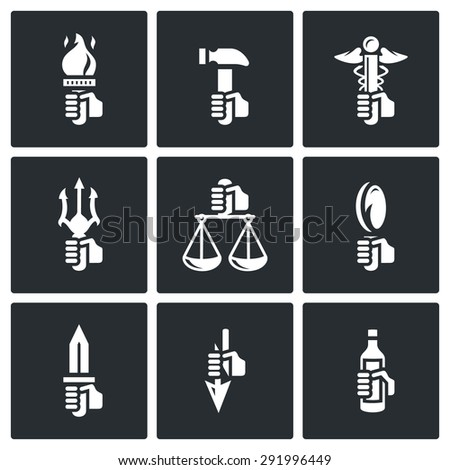 Symbols Gods Greek Mythology Icons Set Stock Vector 291996449