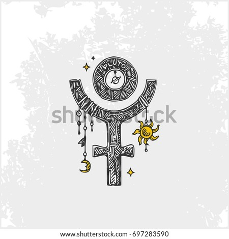 Symbols Planets Pluto Vintage Style Vector Stock Vector 697283590