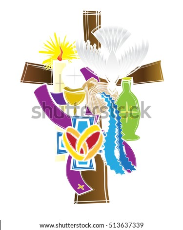 Symbols Seven Sacraments Catholic Church Abstract Stock Vector
