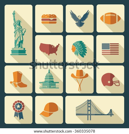 Symbols of the USA - stock vector