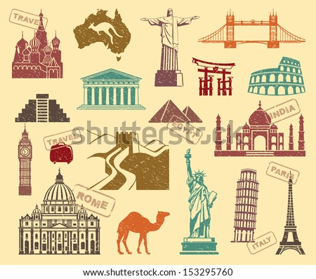 Symbols of travel - stock vector