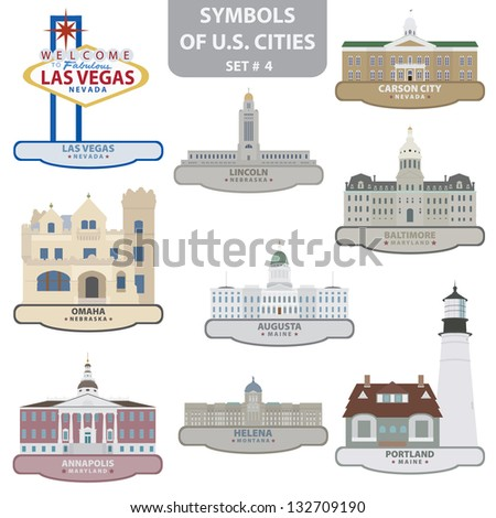 Symbols of US cities. Set 4. Vector for you design - stock vector