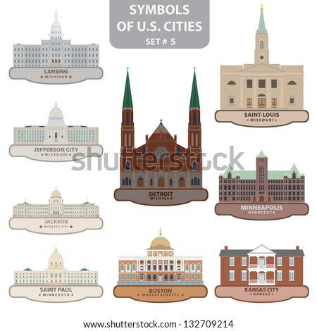 Symbols of US cities. Set 5. Vector for you design - stock vector