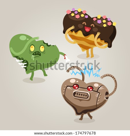 Symbols of Valentine's Day. In the EPS file, each element is grouped separately. - stock vector