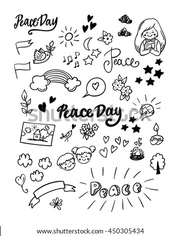 Symbols peace for International Peace Day.  Peace Day poster, icon and design elements in doodle style. Big set.