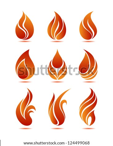 Symbols red fire on white background vector - stock vector
