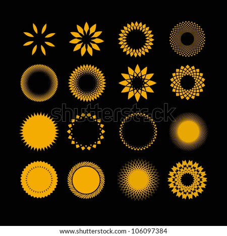 symbols sun in set - stock vector