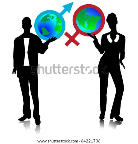 Symbols, the Man and the woman holding the globe.Vector - stock vector