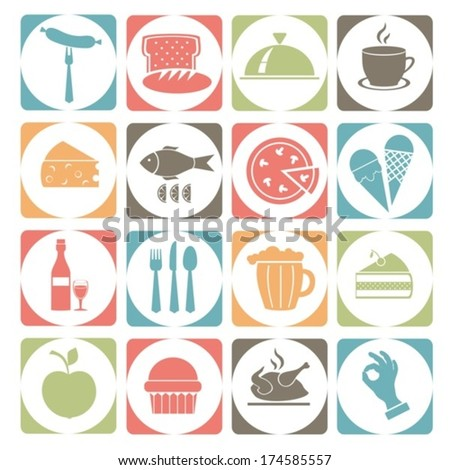 Symbols with food.Colorful vector. EPS-10