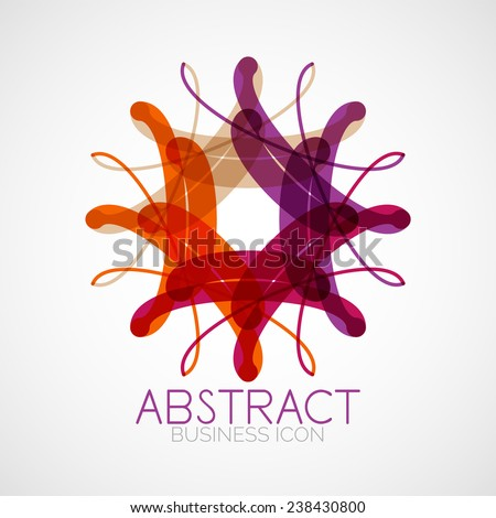 Symmetric abstract geometric shape, business symbol or logo design, loop - stock vector