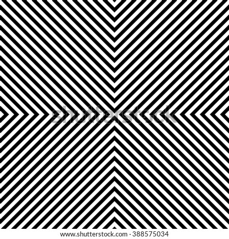 Symmetric deformed squarish geometry. Vector modern seamless striped pattern, black and white textile design, abstract texture, monochrome graphic print