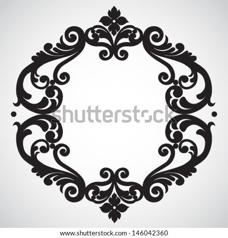 Symmetric ornament frame in Victorian style. Element for design. It can be used for decorating of invitations, cards, decoration for bags and clothes. - stock vector
